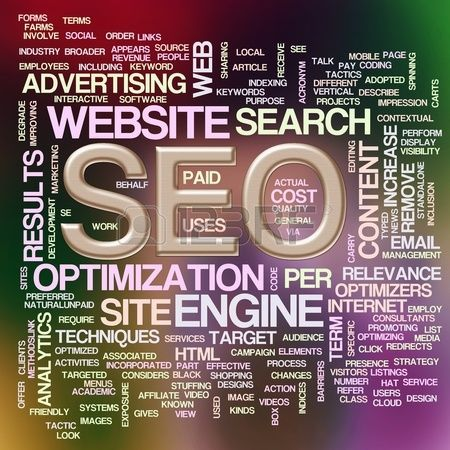 Illustration of wordcloud of seo- search engine optimization Stock Illustration