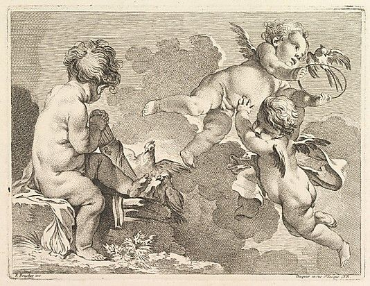 Trois Amours dont un, assis, tient un carquois (Three Loves, one of which is seated, holding a quiver), from Premier Livre de Groupes d'Enfans (First Book of Groups of Children)