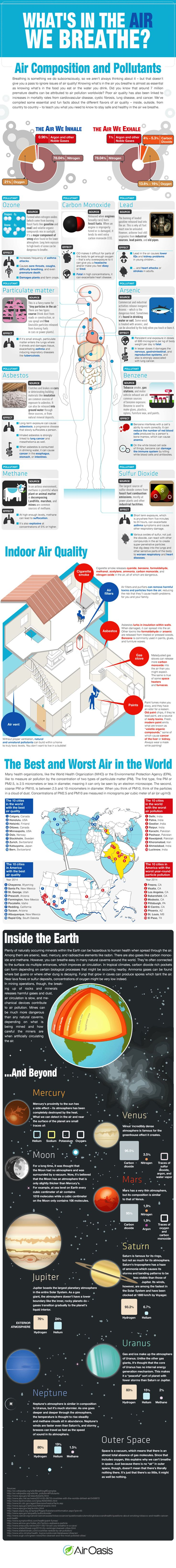 Composition of Air We Breathe Infographic. Topic: air pollution, environmental