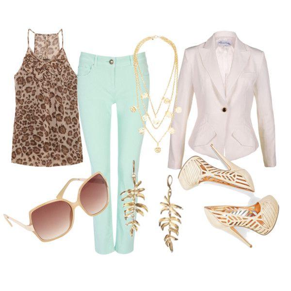 Mint jeans + leopard top + white blazer