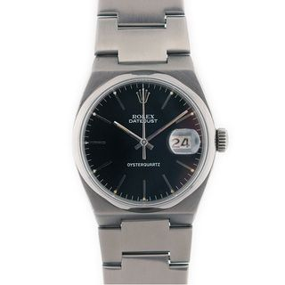 Pre-owned Rolex Quartz Oysterdate Men's Black Dial Watch