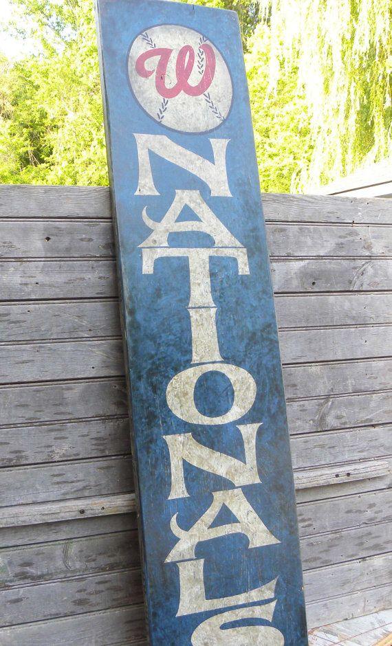 Washington Nationals vintage baseball Sign-hand painted wood,baseball art,wooden hand made.      BUT ORIOLES!