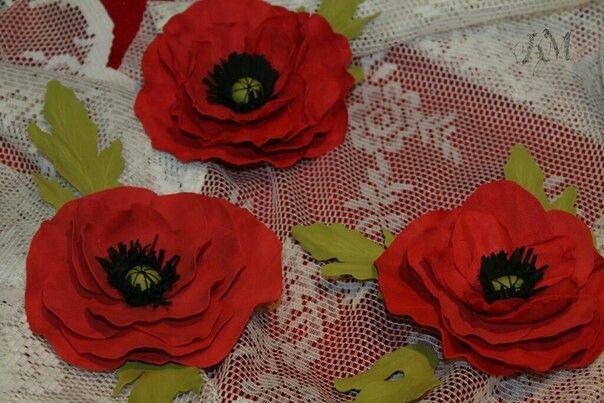 Цветы из фомы. Прекрасные маки