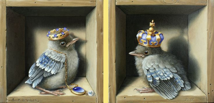 'Kroonjuwelen' - The Crown Jewels, painting of birds with crowns - Suzan Visser