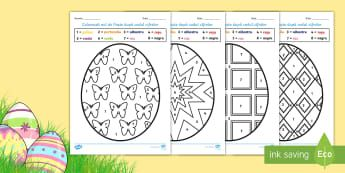 Ouă de Paște - Colorează după codul numerelor - culori, numere, numere naturale, 1-20, 1-10, matematică, paște, activități, fișe de colorat, pr