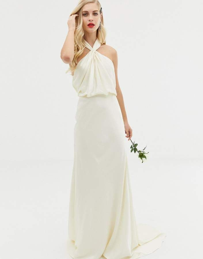 d2407913a5b0 Asos Edition EDITION ruched halter neck maxi wedding dress #Sponsored ,  #Sponsored, #EDITION#ruched#Asos