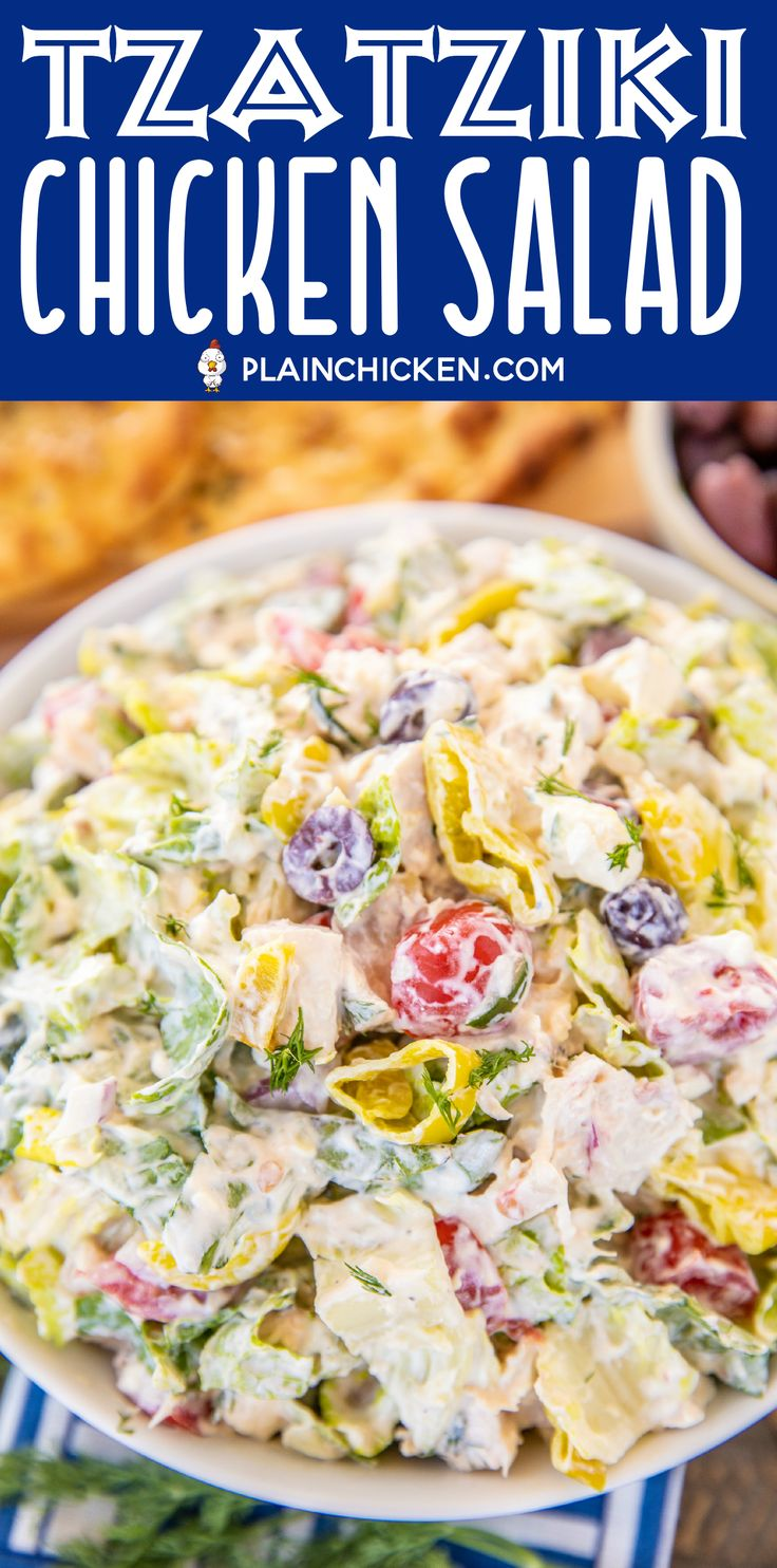 Tzatziki Chicken Salad – seriously delicious! Chic…