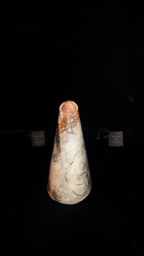 Vaso in ceramica fatto a mano con tecnica sagar, pezzo unico .
