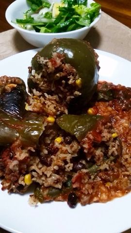 Brown Rice and Veggie Stuffed Peppers | Vegan | Pinterest | Stuffed ...