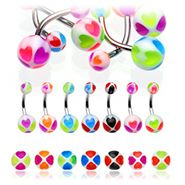 Basic Heart UV Belly Piercings - 7 Different Coloured Belly Bars Available!