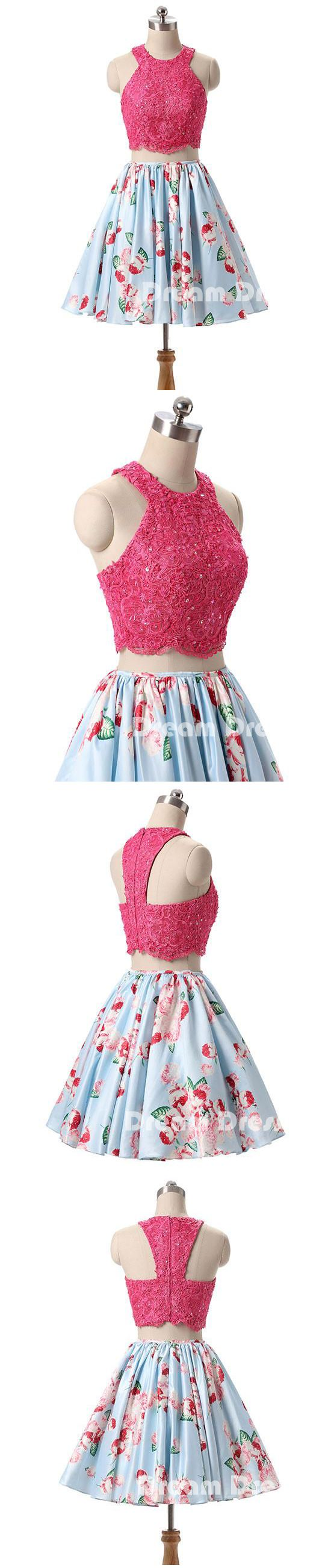 Pink lace short prom dresses, pink cute homecoming dresses,PD250009 #promdresses #shopping #fashion #dresses #evening