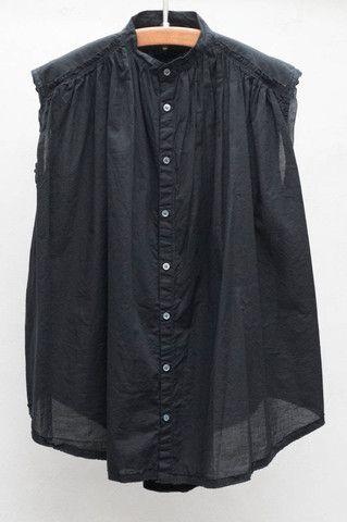 Black Sleeveless Shirred Blouse
