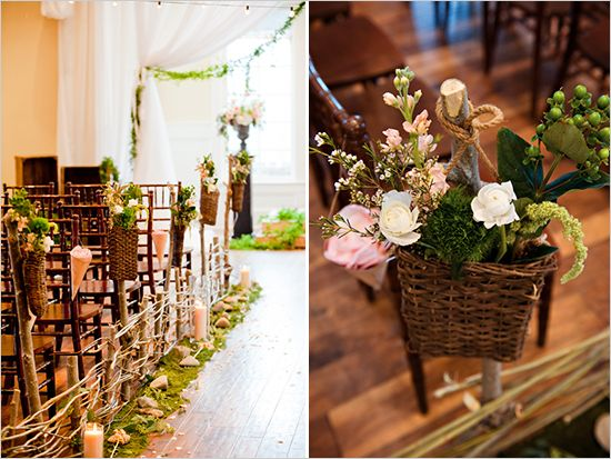 aisle style inspiration | love the sweet basket arrangements, moss, and twig fencing. adorable way to bring a little of the rustic outdoors to an indoor ceremony! #weddingdecor #aislestyle #weddinginspiration