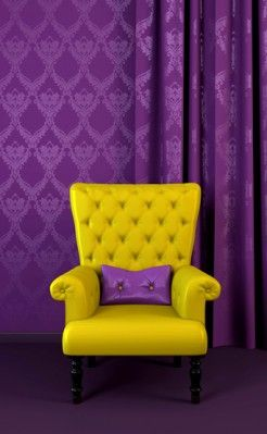 Purple & Yellow, two contrasting colors. The purple walls help make the yellow chair stand out.