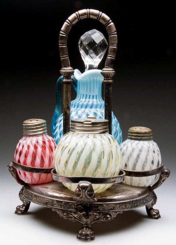 Buckeye Glass Co.1800's Reverse Swirl Condiment Set and Barbour Brothers Silver Plated Stand