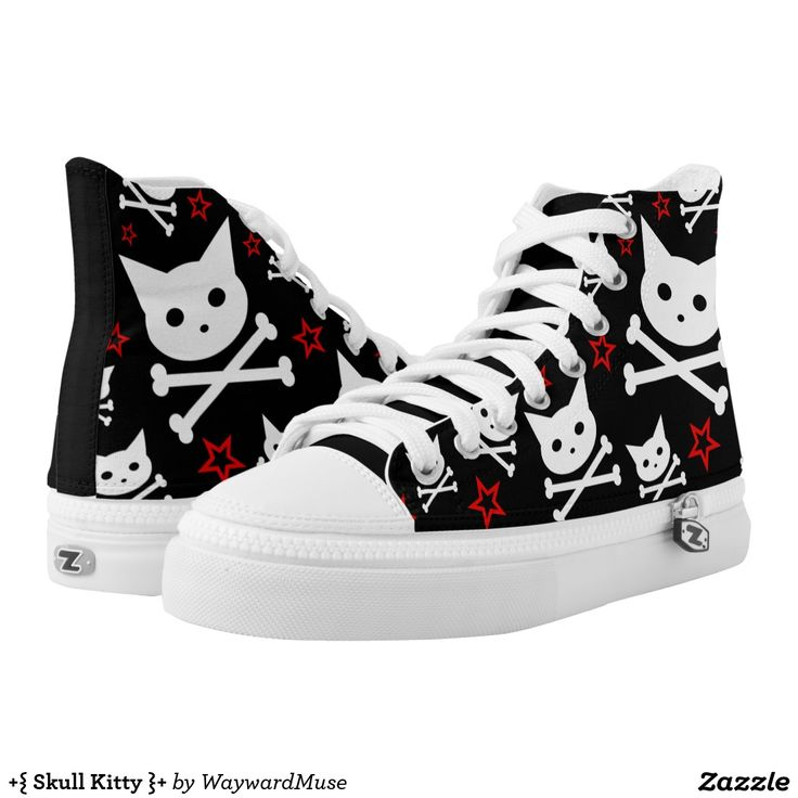+{ Skull Kitty }+ Printed Hi-Top Sneakers ~ Cute shoes with skull cat and red stars.