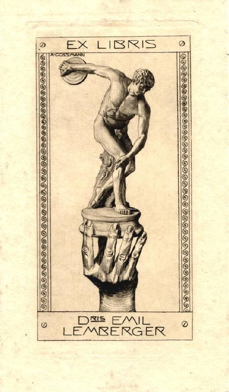 """O-Kupferstich, """"Exlibris Dris Emil Lemberger"""", in der Platte signiert, ca. 13 x 7 cm auf Büttenpapier 16 x 9,2 cm. Rücks. oben u. unten m. Montagerest. 1911. Gutenberg Katalog I, Nr. 1891. von Cossmann, Alfred (1870-1951, Österreichischer Graphiker): 0 - Signum Antiquariat"""