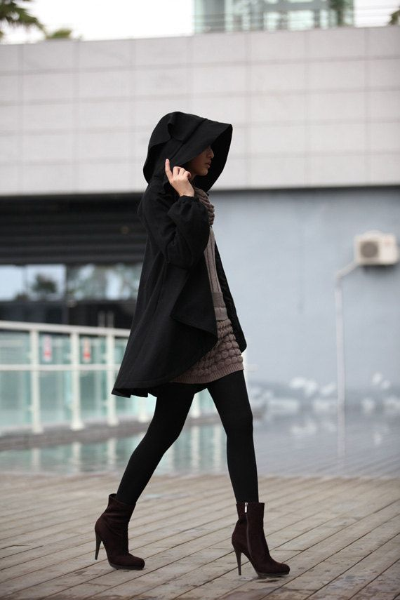 Hooded cape, street style: