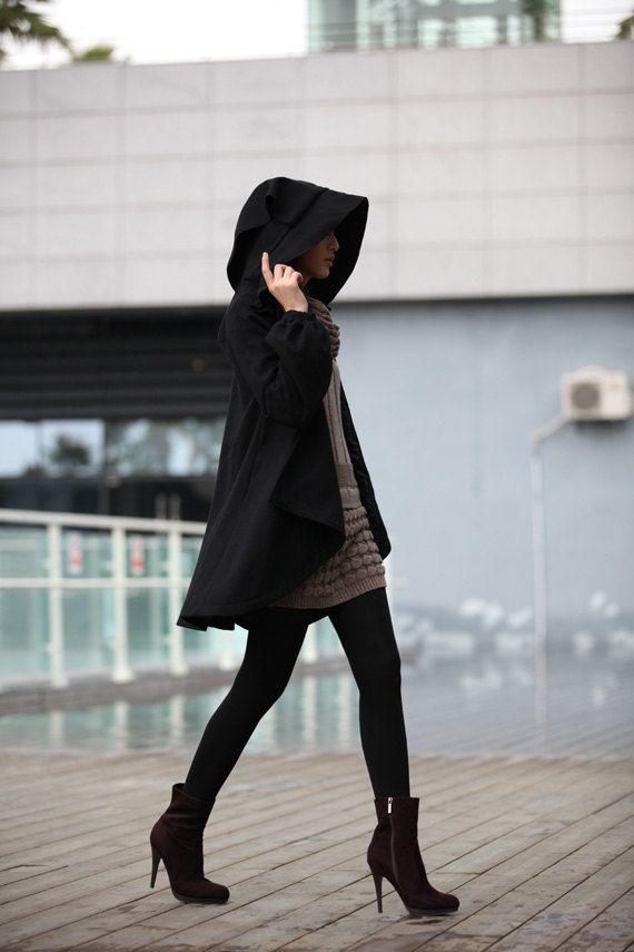 BLACK Long Sleeve Wool Winter Coat Special Hooded Woolen Cape Coat Hood Cloak Hoodie Cape for Women - NC231