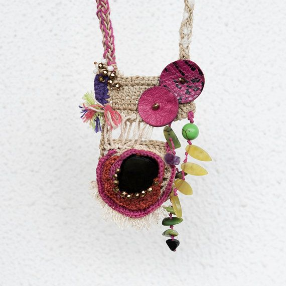 Beige and Fucsia Crocheted Necklace Pentant with Black Agate and Serpentine Olive Gemstones