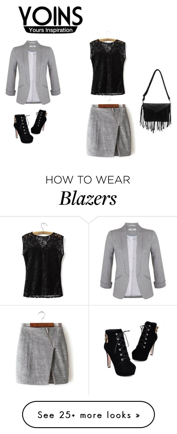 """""""Gray-Wrap-Skirt-with-Asymmetric-Zip"""" by nermin-cergic on Polyvore featuring JY Shoes, Miss Selfridge, women's clothing, women's fashion, women, female, woman, misses, juniors and yoins"""