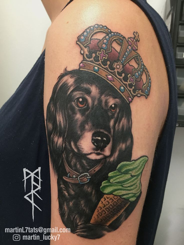 #dog #icecream #crown #animaltattoo #neotraditional #tattoo #tattoos