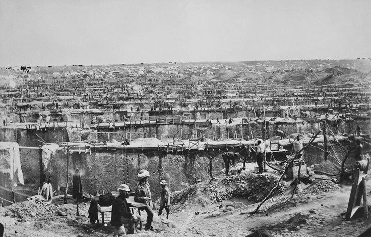 """The Kimberley Mine photographed in 1872, one year after Dutch colonists discovered an 83-carat diamond here. Once known as the Colesburg Kopje (hill) the mine was already on its way to becoming """"The Big Hole."""" http://marchand.historyproject.ucdavis.edu/2011/12/16/mining-a-photograph-for-a-deeper-understanding/"""