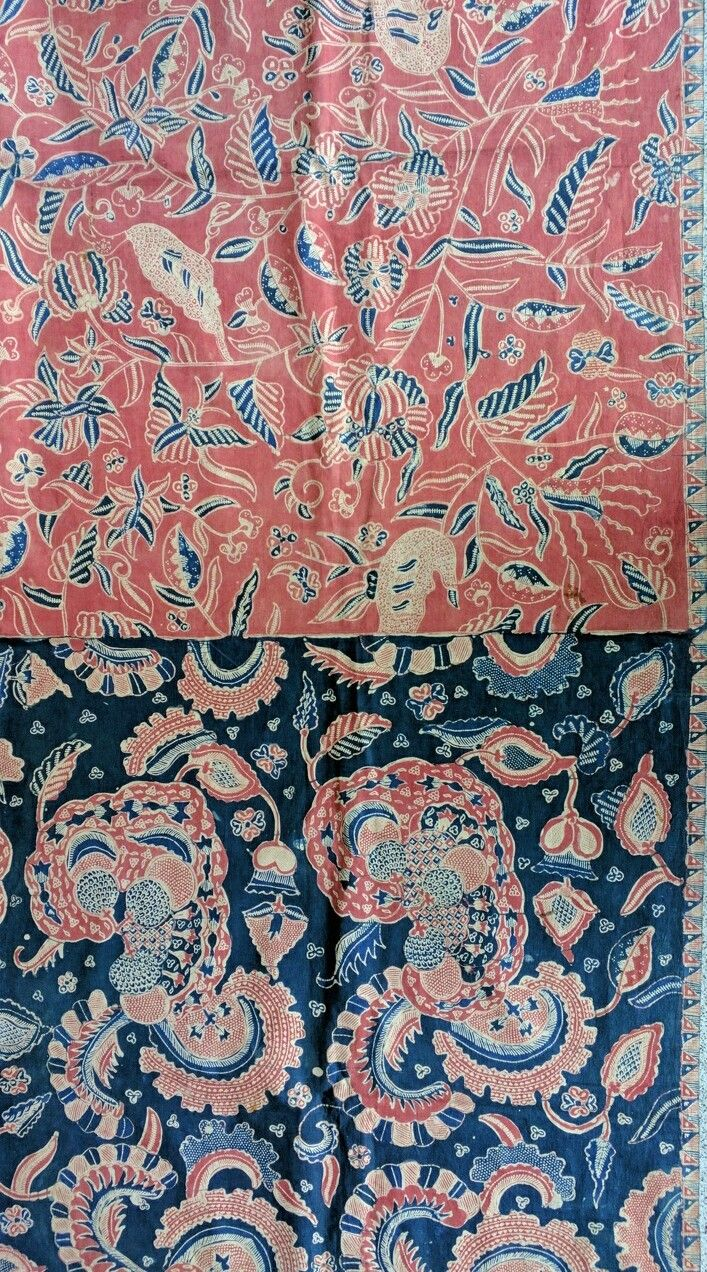 Part of an unusual kain panjang batik tulis. The motif and color is divided like a pagi sore cloth but instead of the line being diagonal it is straight. Also the motif is unusual and it is slightly reminiscent of an Indian motif. www.kulukgallery.com #Batiktulis #antiquebatik