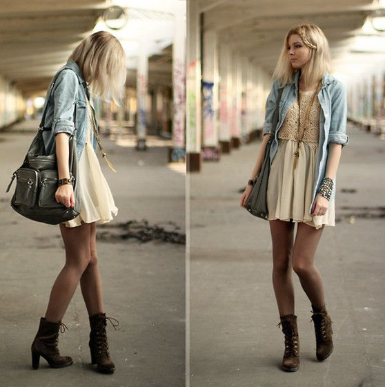Cream dress. Cream lace top. Blue button up. Tights. Lace up boots. Long necklace.