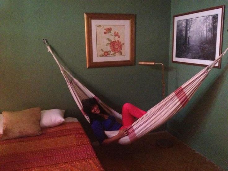 Hammock in the bedroom. Hell yes. // Dreamcatcher Guest House. // Ocean Park, Puerto Rico. www.dreamcatcherpr.com