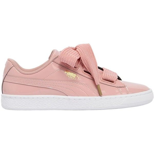 Puma Select Women Basket Heart Patent Leather Sneakers (545 AED) ❤ liked on Polyvore featuring shoes, sneakers, pink, patent leather shoes, rubber sole sneakers, heart sneakers, pink shoes and logo shoes