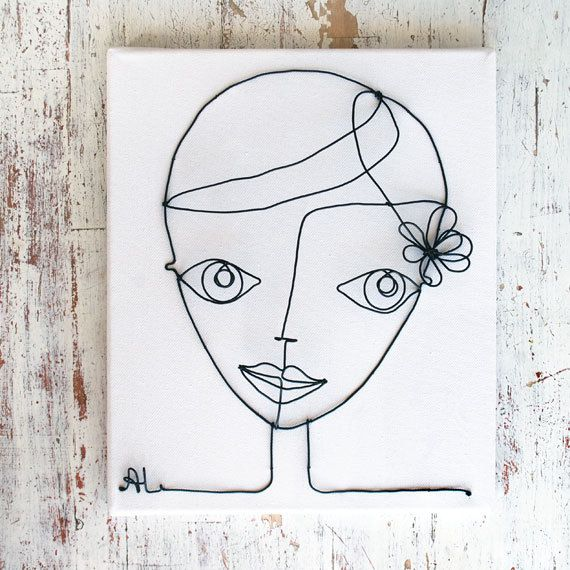 Pretty girl made of wire, the frame may be an unusual decoration of the interior frame size 25 х 30 cm (9 3\4 х 12 Inch)