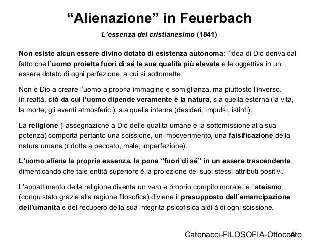 """""""Alienazione"""" in Feuerbach da L'essenza del cristianesimo."""