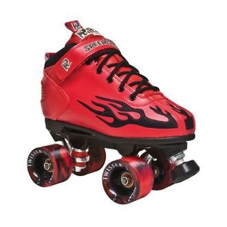 The Rock Flame Red w/ Black Flame  Boots:  Rock speed boots with padded collar, foam tongue, and cushion footbed. Plus, the flames on the side. http://shop.rollwithitct.com/The-Rock-Flame-Red-w-Black-Flame-SESRFRB.htm