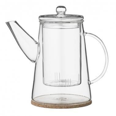 Glass Teapot w/cork coaster, 900 ml, Double Glass