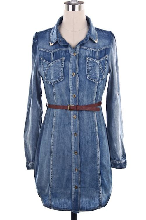 Denim dress with leggings & tall, brown, leather boots. Yes please!