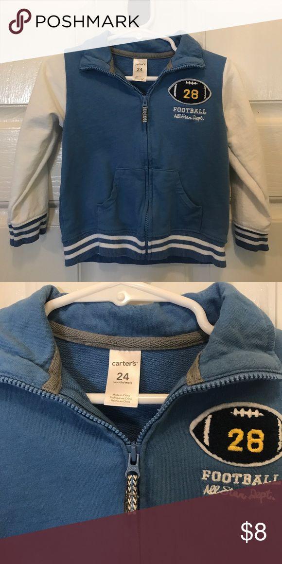 """NWOT Carter's Blue & White hoodie NWOT blue and white zip up hoodie. """"Football all star Dept."""" in white with cute football. Size 24 mos. Carter's Shirts & Tops Sweatshirts & Hoodies"""