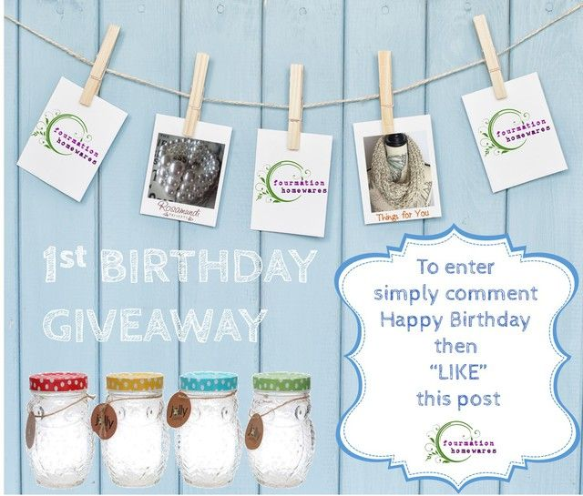 Enter the First Birthday Giveaway on our Facebook page! www.facebook.com/fourmationhomewaresnz ENDS TOMORROW AT NOON