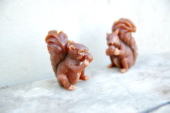 Vintage soviet brown candles squirrel set of 2 by semivint