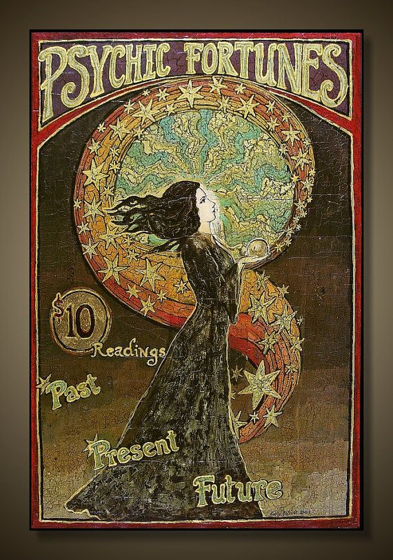 Psychic Fortunes ~ A print of the original gypsy circus painting by Emily Balivet; Acrylic on panel, 2002.  Printed on archival quality matte Kodak Endura paper, the print measures 12 x 18 with a .25 inch border allowance. The print is signed, titled and dated on the back by the artist, sealed in a clear protective cello sleeve and ships flat.  ~All prints are packaged professionally and shipped via Priority mail (within the US) ~Overseas shipping via USPS First Class International…