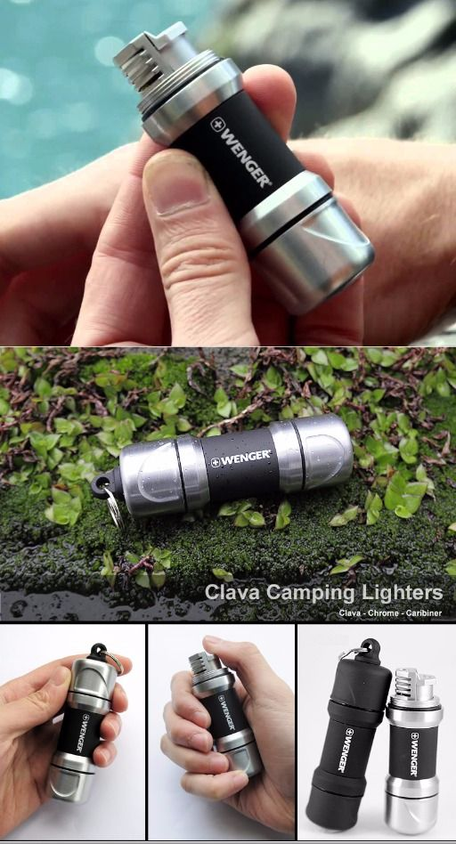 WENGER CLAVA CHROMEBLACK LIGHTER - Survival Gear Torch - Everyday Carry Gear