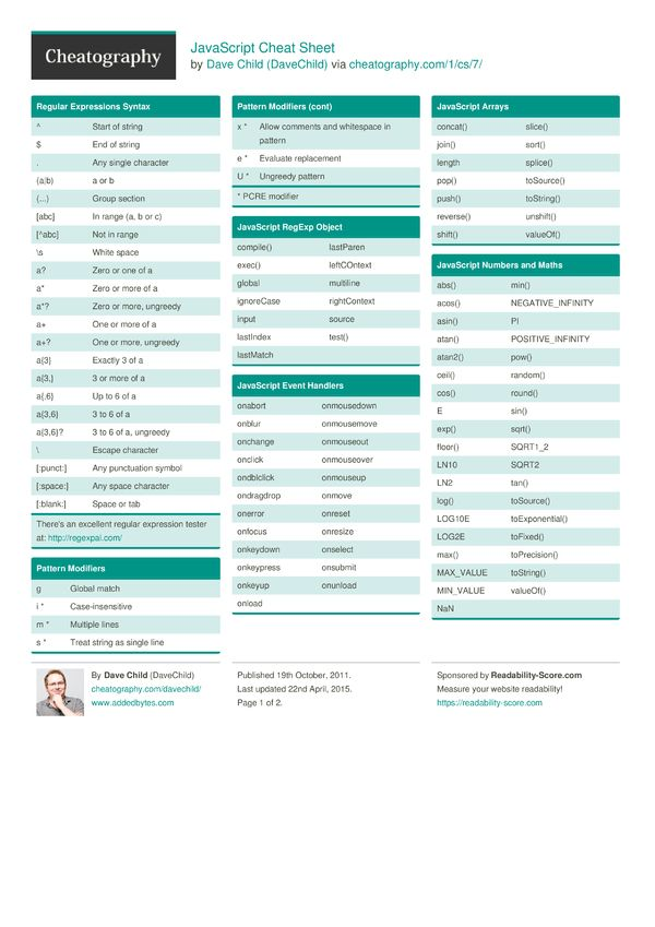 JavaScript Cheat Sheet by DaveChild - Cheatography.com: Cheat Sheets For Every Occasion