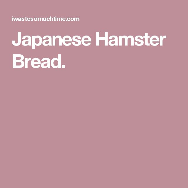 Japanese Hamster Bread.