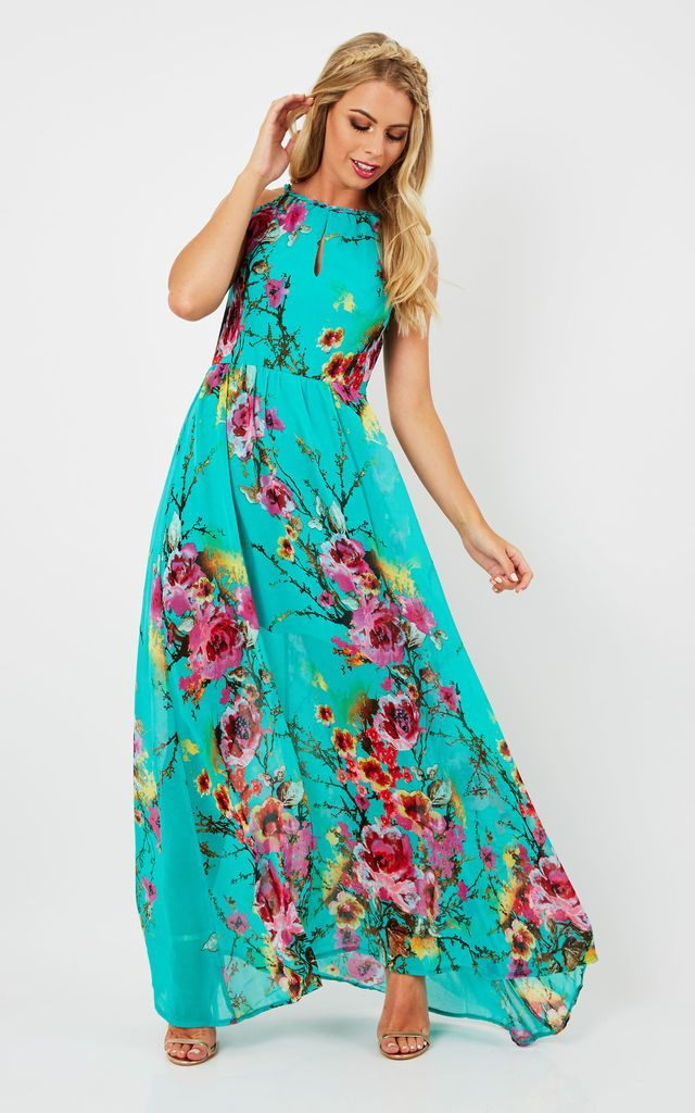 7d51d180 Eryn – Turquoise Floral Printed Maxi Dress By Blue Vanilla | Clothes ...