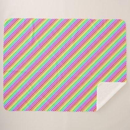 Rainbow Chevron Sherpa Blanket - stripes gifts cyo unique style