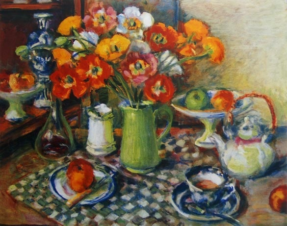 Margaret Olley -Poppies and checked cloth 2008