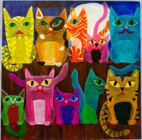 10 Cats on a Fence by EyeFullofColor on Etsy