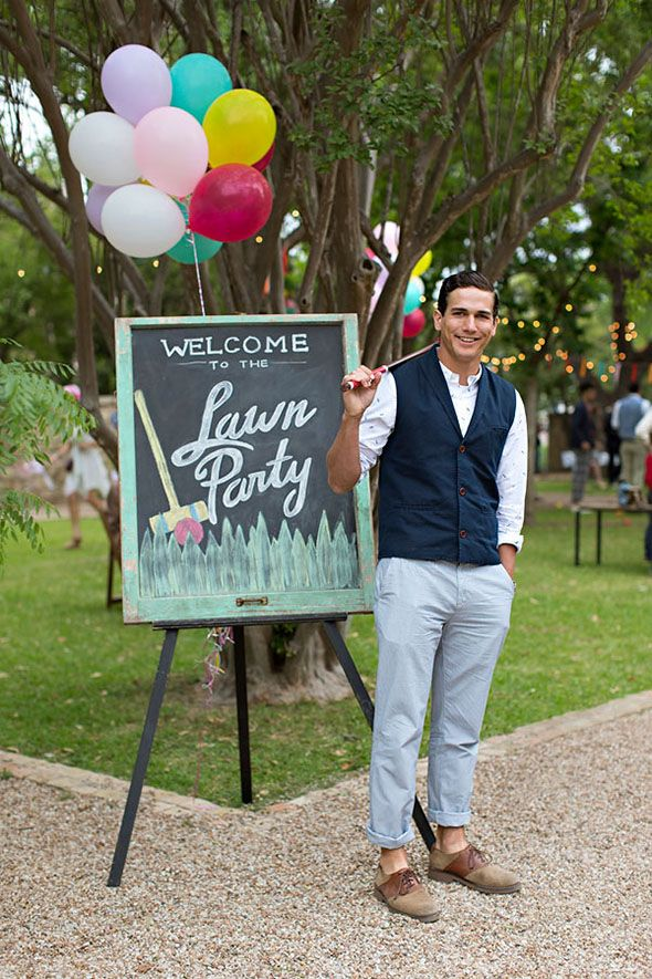 Model Will Harris greets partygoers into the Lawn Party in a dapper look by STAG | TRIBEZA Austin Magazine