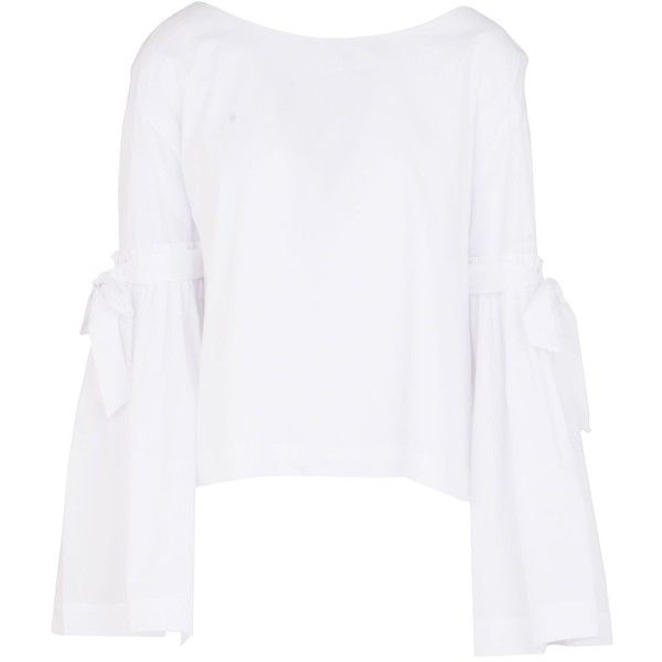 Free People Blouse ($98) ❤ liked on Polyvore featuring tops, blouses, white, white cotton tops, long sleeve bow blouse, white bow blouses, long sleeve tops and round collar blouse