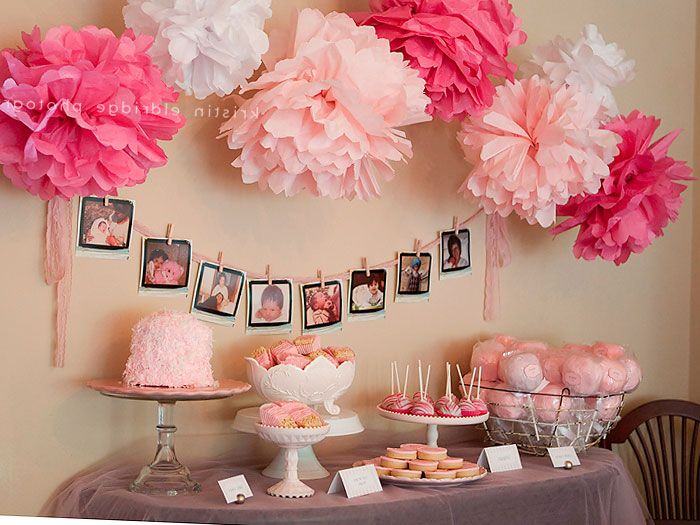 17 best ideas about girl baby showers on pinterest baby for Baby shower at home decorations
